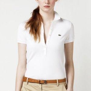 LACOSTE White 5 Button Polo Shirt